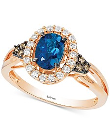 Le Vian® Deep Sea Blue Topaz (7/8 ct. t.w.) & Diamond (1/4 ct. t.w.) Rng in 14k Rose Gold