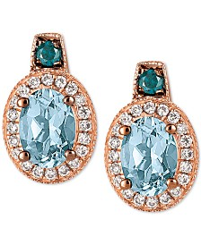 Le Vian Exotics® Sea Blue Aquamarine (1-1/6 ct. t.w.) & Diamond Stud Earrings (1/3 ct. t.w.) in 14k Rose Gold