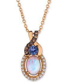 "Le Vian® Multi-Gemstone (1/2 ct. t.w.) & Diamond (1/8 ct. t.w.) 18"" Pendant Necklace in 14k Rose Gold"