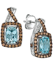 Sea Blue Aquamarine (1-3/8 ct. t.w.) & Diamond (1/2 ct. t.w.) Drop Earrings in 14k White Gold