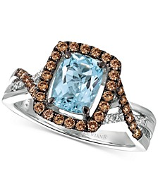 Sea Blue Aquamarine (1-1/6 ct. t.w.) & Diamond (1/2 ct. t.w.) Ring in 14k White Gold