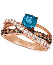 Le Vian® Deep Sea Blue Topaz (1 ct. t.w.) & Diamond (3/4 ct. t.w.) Ring in 14k Rose Gold