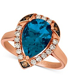 Ocean Blue Topaz (3-1/10 ct. t.w.) & Diamond (1/3 ct. t.w.) Statement Ring in 14k Rose Gold