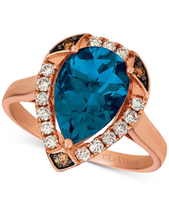 Le Vian - Ocean Blue Topaz (3-1/10 ct. t.w.) & Diamond (1/3 ct. t.w.) Statement Ring in 14k Rose Gold