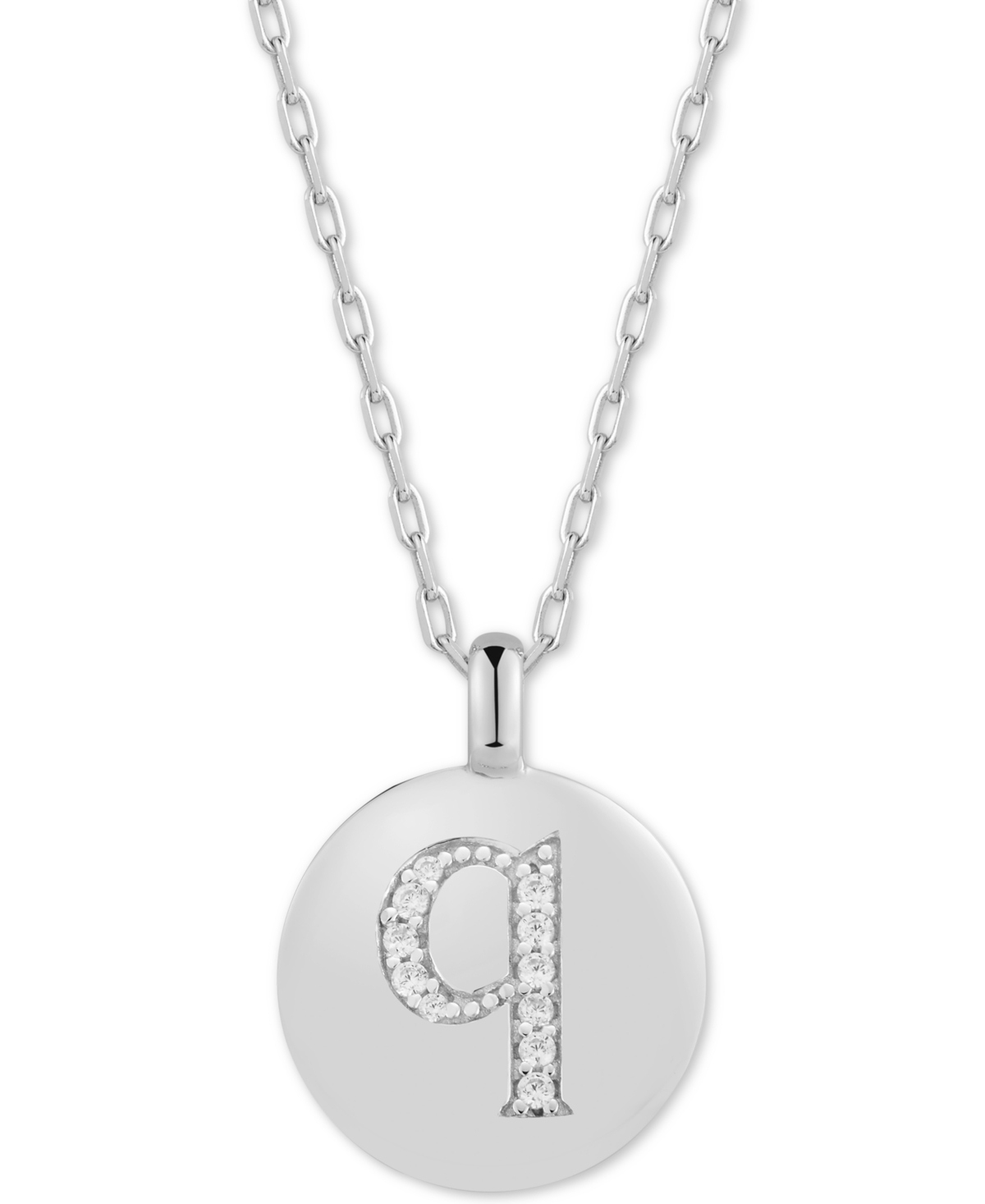 """Charmbar Cubic Zirconia Initial Reversible Charm Pendant Necklace in Sterling Silver, Adjustable 16""""-20"""""""