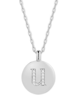 Cubic Zirconia Initial Reversible Charm Pendant Necklace in Sterling Silver