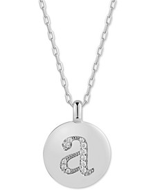 "Swarovski Zirconia Initial Reversible Charm Pendant Necklace in Sterling Silver, Adjustable 16""-20"""