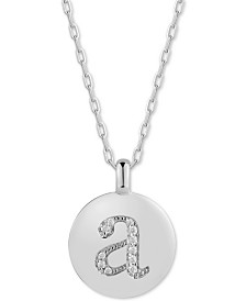 "CHARMBAR™ Swarovski Zirconia Initial Reversible Charm Pendant Necklace in Sterling Silver, Adjustable 16""-20"""