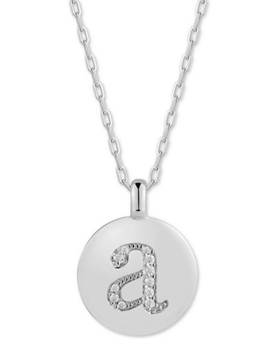 CHARMBAR™ Swarovski Zirconia Initial Reversible Charm Pendant Necklace in Sterling Silver, Adjustable 16