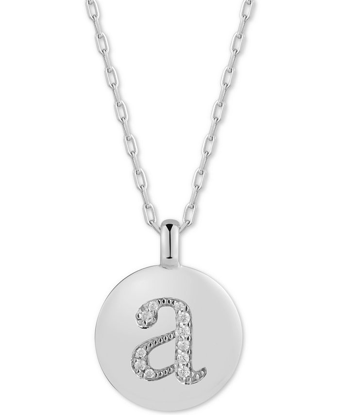 """CHARMBAR - Swarovski Zirconia Initial Reversible Charm Pendant Necklace in Sterling Silver, Adjustable 16""""-20"""""""