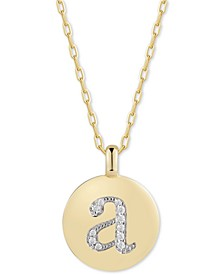 "Swarovski Zirconia Initial Reversible Charm Pendant Necklace in 14k Gold-Plated Sterling Silver, Adjustable 16""-20"""