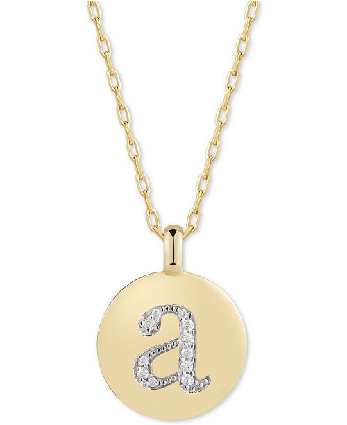 """CHARMBAR Swarovski Zirconia Initial Reversible Charm Pendant Necklace in 14k Gold-Plated Sterling Silver, Adjustable 16""""-20"""""""