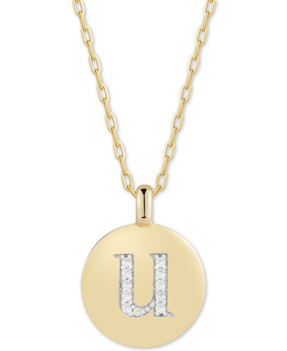 """Charmbar Cubic Zirconia Initial Reversible Charm Pendant Necklace in 14k Gold-Plated Sterling Silver, Adjustable 16""""-20"""""""