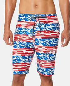 "Speedo Men's American Flag Stripe TurboDri 9"" E-Board Swim Trunks"