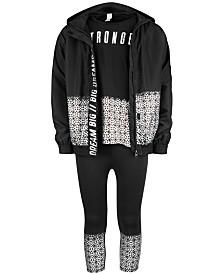 Ideology Big Girls Kaleidoscope-Print Hooded Jacket, Stronger-Print T-Shirt & Capri Leggings, Created for Macy's