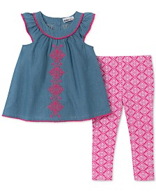 Kids Headquarters Little Girls 2-Pc. Embroidered Tunic & Printed Leggings Set
