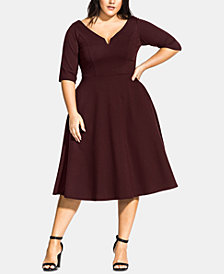 City Chic Trendy Plus Size Sweetheart-Neck Fit & Flare Dress