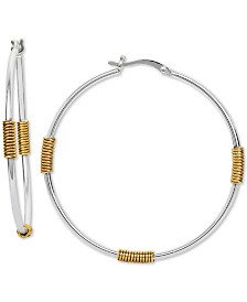 Giani Bernini Wire-Wrapped Hoop Earrings in Sterling Silver & 18k Gold-Plate, Created for Macy's