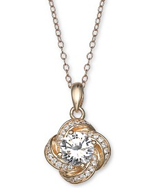"Giani Bernini Cubic Zirconia Love Knot Pendant Necklace, 18"" + 2"" extender, Created for Macy's"