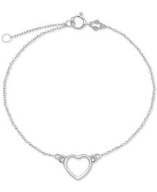 Open Heart Ankle Bracelet in Sterling Silver