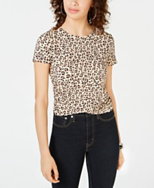 Self Esteem Juniors' Leopard Printed Ruched Faux-Wrap T-Shirt