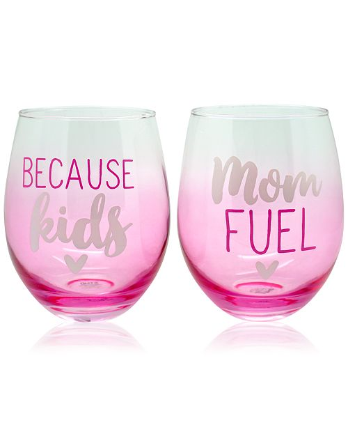 """TMD Holdings Set of 2 """"Because Kids"""" & """"Mom Fuel"""" Frosted Ombre Stemless Wine Glasses"""