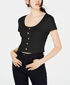Hippie Rose Juniors' Button-Trimmed Rib-Knit Crop Top