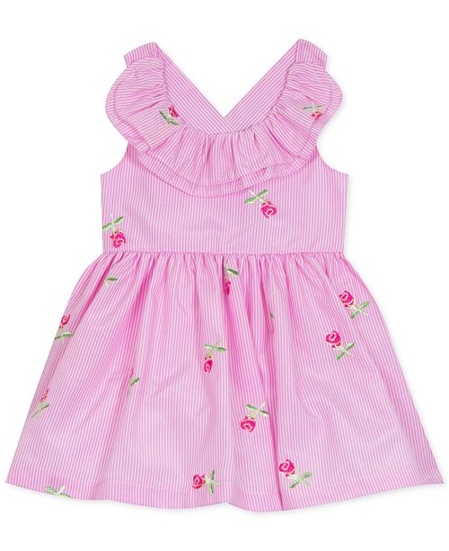 Rare Editions Baby Girls Floral Embroidered Ruffle Dress