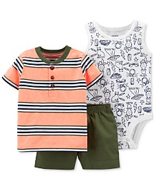 Carter's 3-Pc. Striped Cotton Shirt, Printed Bodysuit & Shorts Set