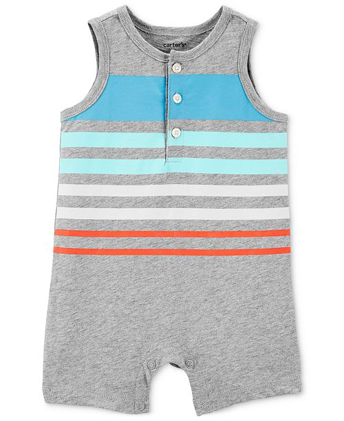 a3dc40f67 Carter's Baby Boys Striped Cotton Tank Romper & Reviews - All Baby ...
