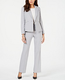 One-Button Zipper-Pocket Pantsuit