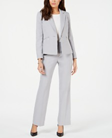 Le Suit Petite One-Button Zipper-Pocket Pantsuit