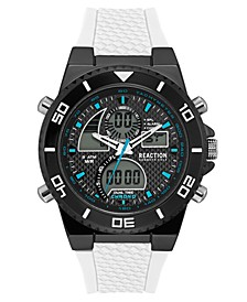 Men's Analog-Digital White Silicone Strap Watch 46mm