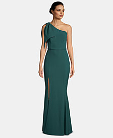 Betsy & Adam One-Shoulder Bow Gown