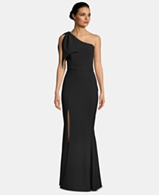 Betsy & Adam Petite One-Shoulder Bow-Detail Gown