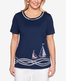 Alfred Dunner Smooth Sailing Chain-Neck Embroidered Top