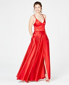 Juniors' Double-Strap Satin Gown