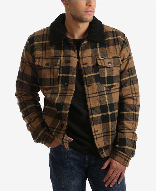 Wrangler Men's Wool Blend Plaid Trucker Jacket