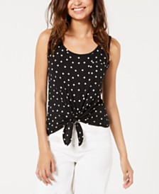Rebellious One Juniors' Polka-Dot Printed Tie-Front Tank Top
