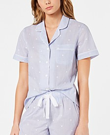 Notch Collar Woven Cotton Pajama Top, Created for Macy's 8151634