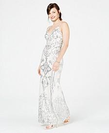 Petite Sequin & Mesh Gown