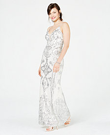 Betsy & Adam Embellished Illusion-Inset Gown