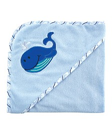 Luvable Friends Hooded Towel, Blue Whale, One Size