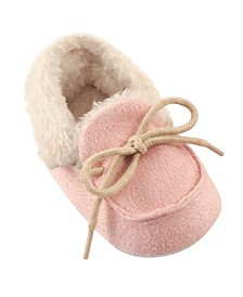 Luvable Friends Cozy Moccasins, Pink, 0-18 Months