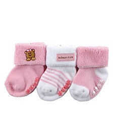 Luvable Friends Beary Cute Non-Skid Socks, 3-Pack, 0-6 Months