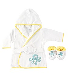 Bath Robe with Slippers, Octopus, 0-9 Months