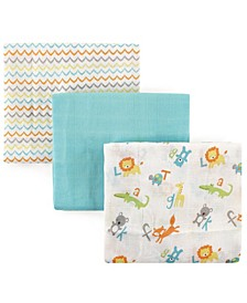 Luvable Friends Muslin Swaddle Blanket, 3-Pack, One Size