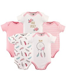 Hudson Baby Bodysuits, 5-Pack, 0-24 Months