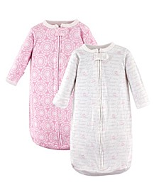 Hudson Baby Long Sleeve Cotton Sleeping Bag, 2-Pack, Girl Script, 0-3 Months