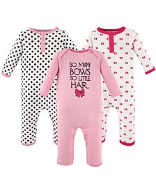 Hudson Baby Union Suits/Coveralls, 3-Pack, 0-24 Months